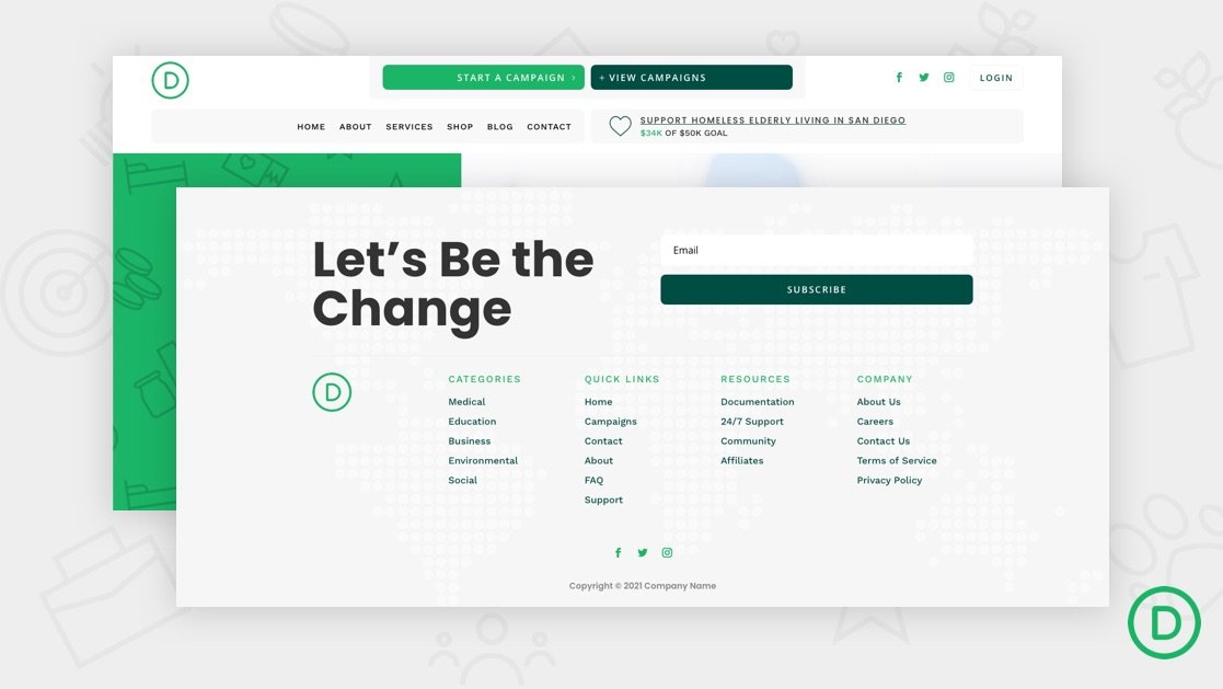 Get a FREE Header and Footer for Divi's Crowdfunding Layout Pack