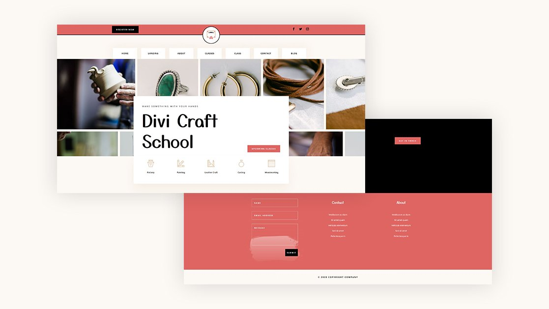 Download a FREE Header & Footer for Divi's Craft School Layout Pack