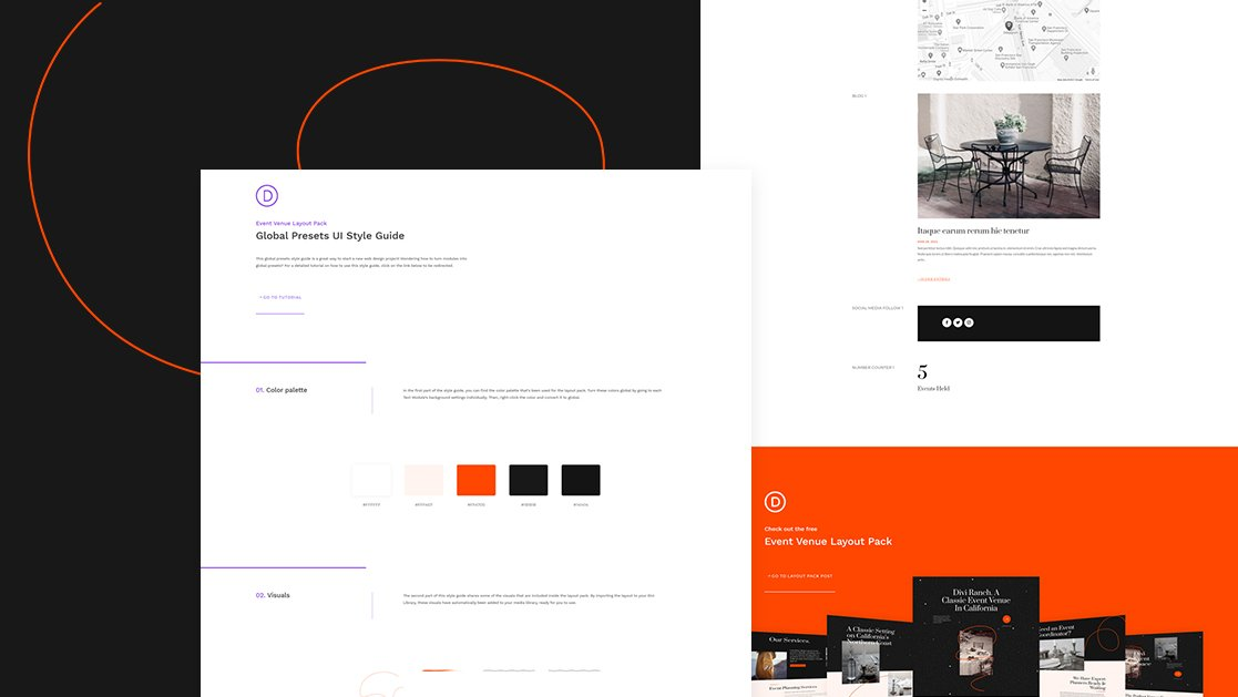 Download a FREE Global Presets Style Guide for Divi's Event Venue Layout Pack