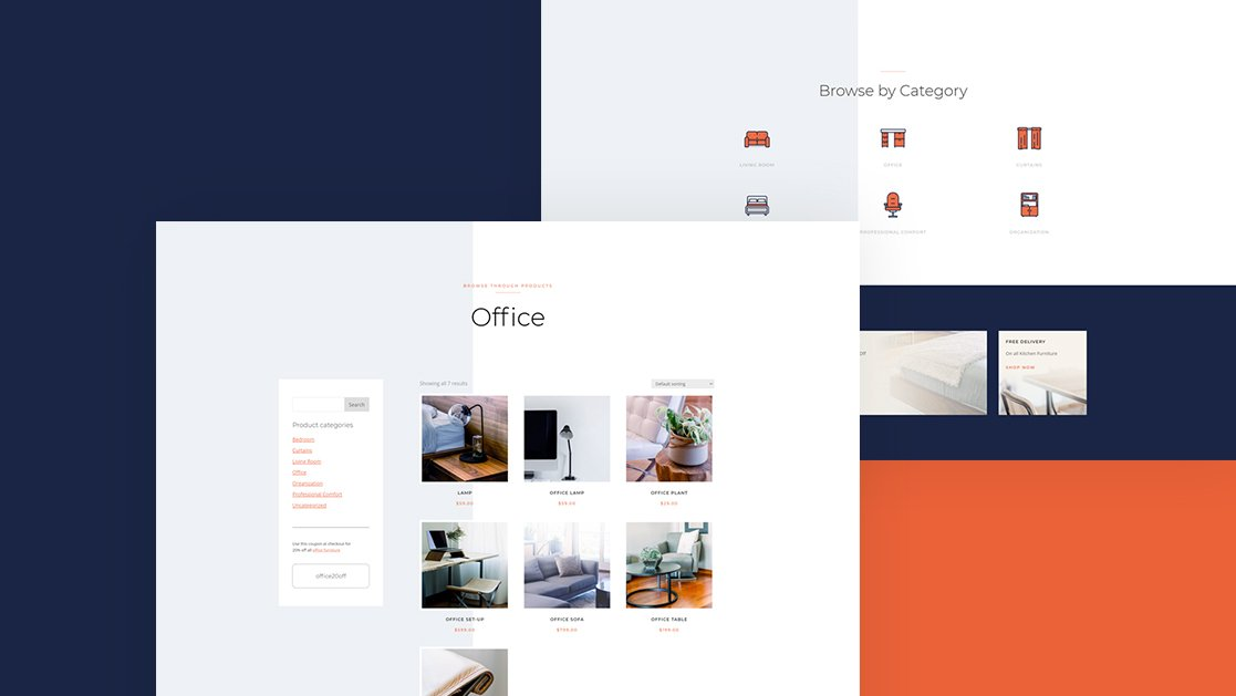 Download a FREE Product Category Page Template for Divi's Furniture Store Layout Pack