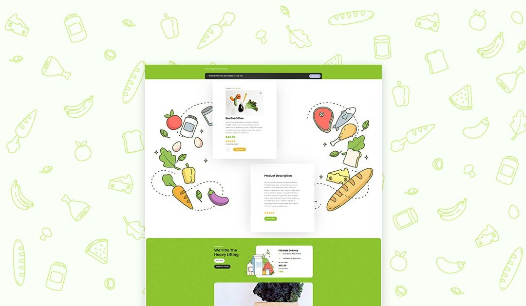 Download a FREE Product Page Template for Divi's Grocery Delivery Layout Pack
