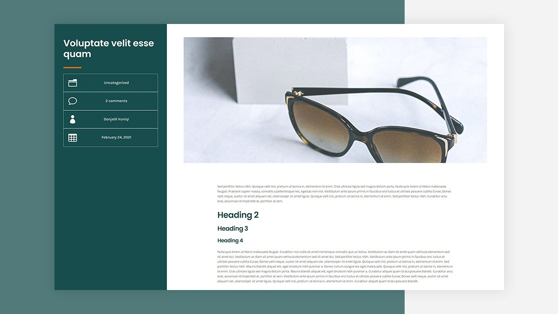 Download a FREE Blog Post Template for Divi's Sunglasses Shop Layout Pack