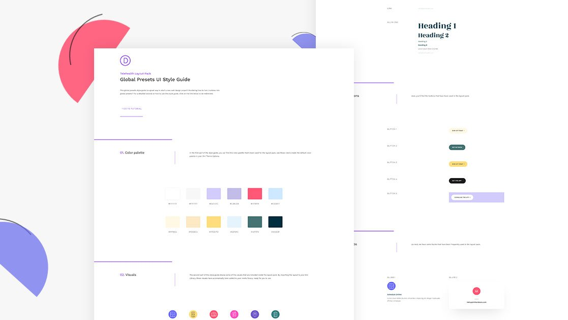 Download a FREE Global Presets Style Guide for Divi's Telehealth Layout Pack