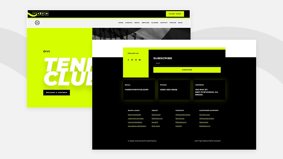 Download a FREE Header & Footer for Divi's Tennis Club Layout Pack