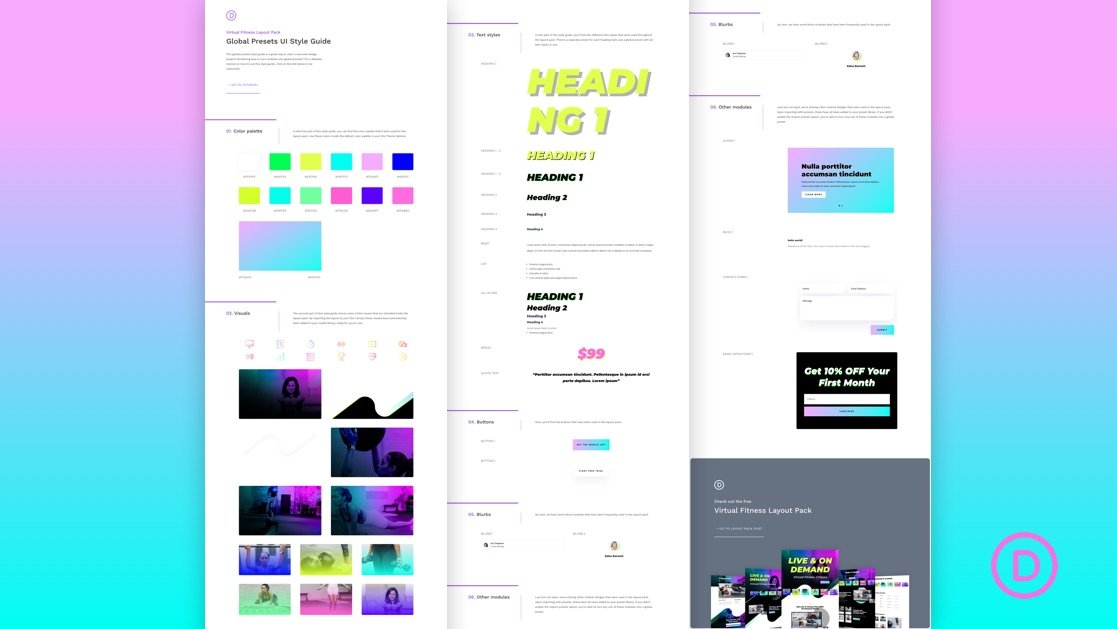 Download a FREE Global Presets Style Guide for Divi's Virtual Fitness Layout Pack