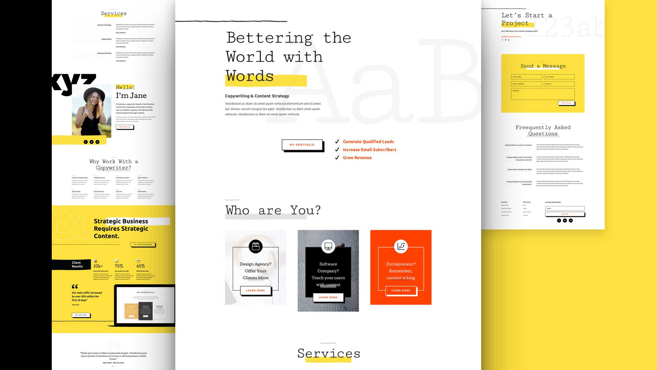 Get a FREE Freelance Writer Layout Pack for Divi