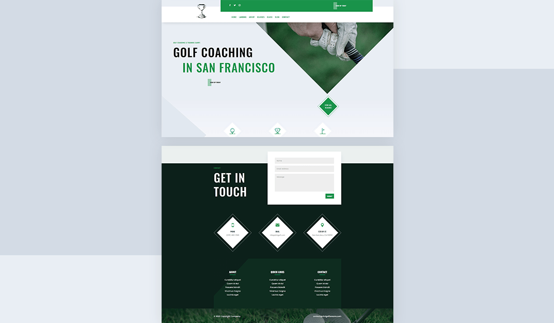 Download a FREE Header & Footer for Divi's Golf Lessons Layout Pack