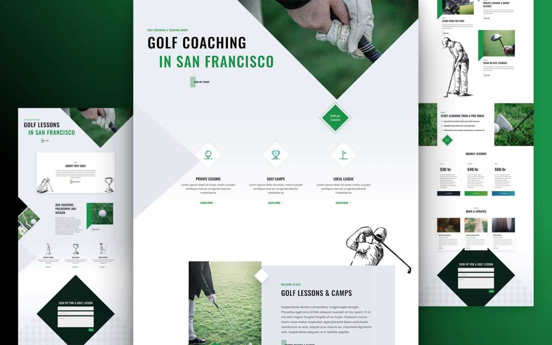 Get a FREE Golf Lessons Layout Pack for Divi