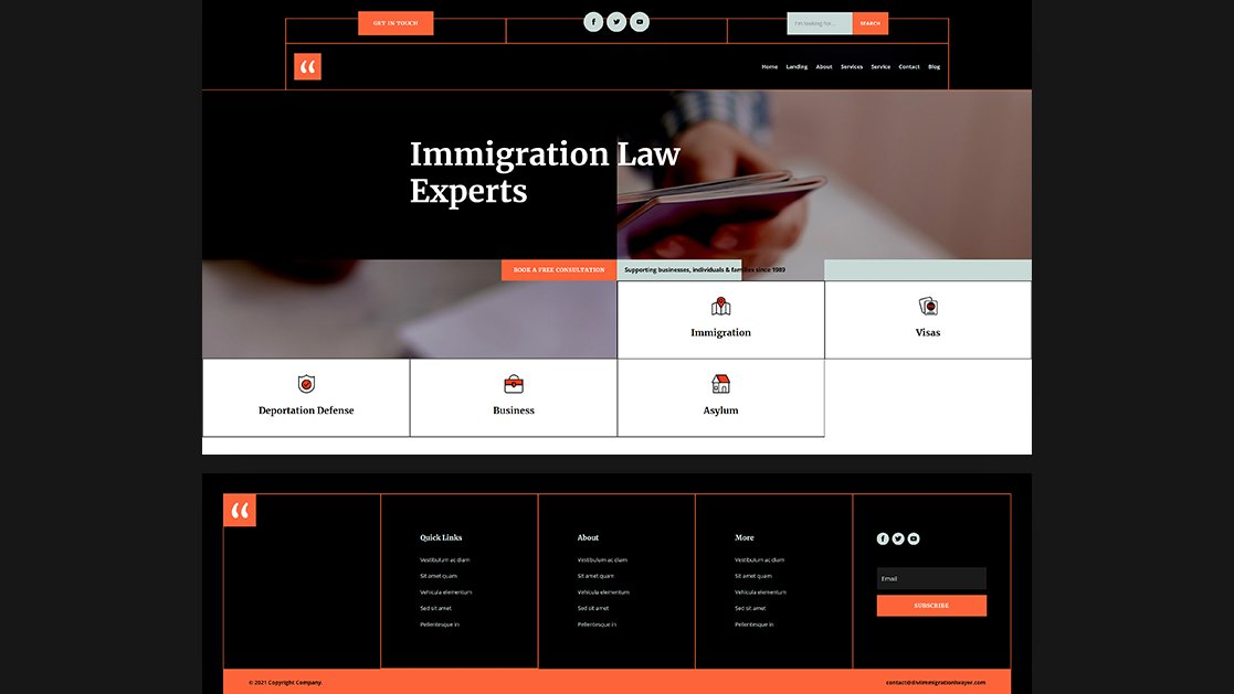 Download a FREE Header & Footer for Divi's Immigration Lawyer Layout Pack