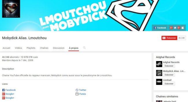 Chaîne Youtube de Mobydick Alias. Lmoutchou