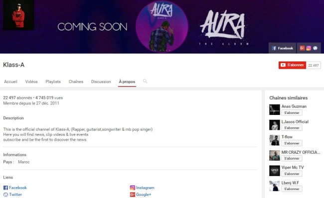 Chaîne Youtube de KLASS A - Rap Maroc 2017