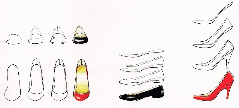 Картинки туфель поэтапно
