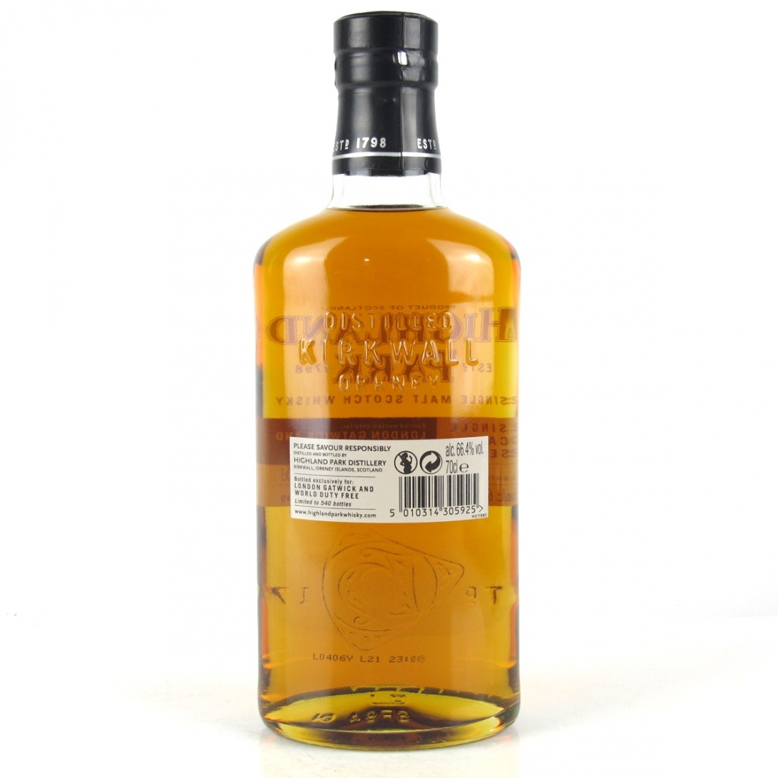Highland Park 2005 Single Cask 12 Year Old #1140 / London Gatwick and World Duty Free   Whisky Auctioneer