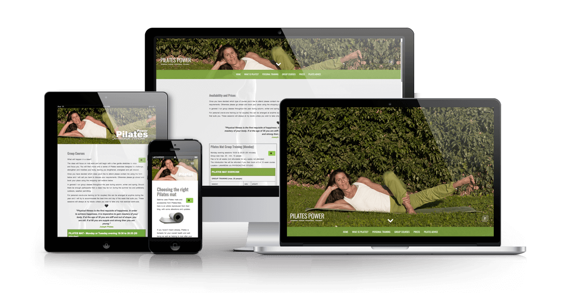 Sabrina Horak Pilates Power - a responsive website with ecommerce for Pilates training
