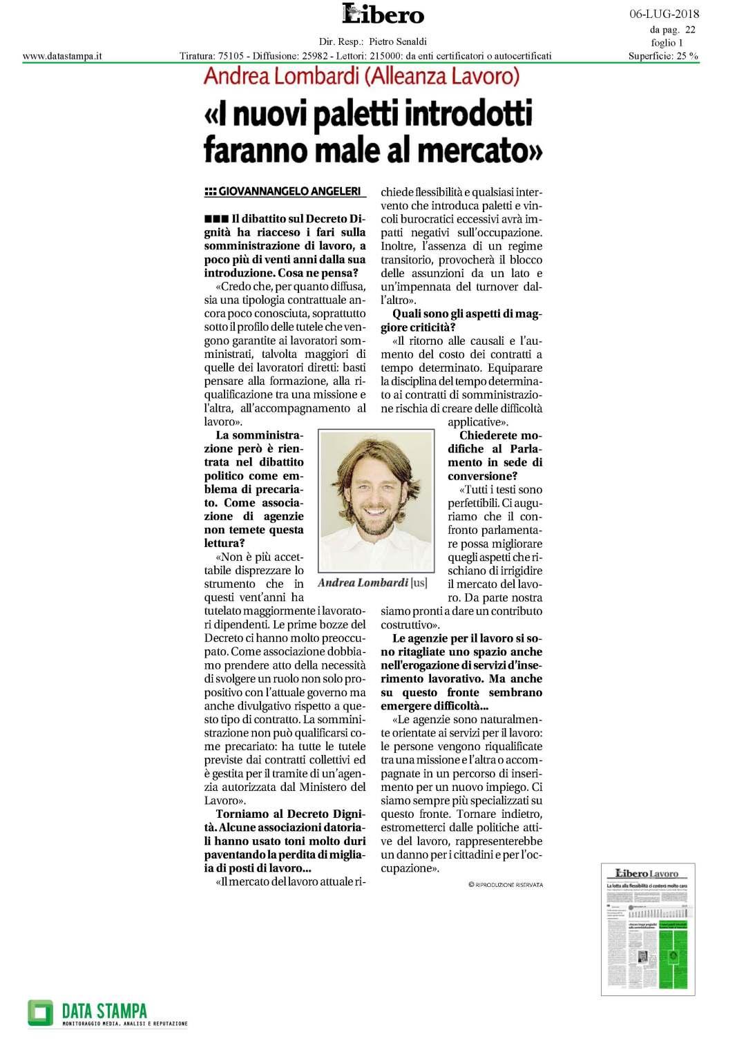 Libero: Andrea Lombardi (Alleanza Lavoro): I nuovi paletti introdotti faranno male al mercato