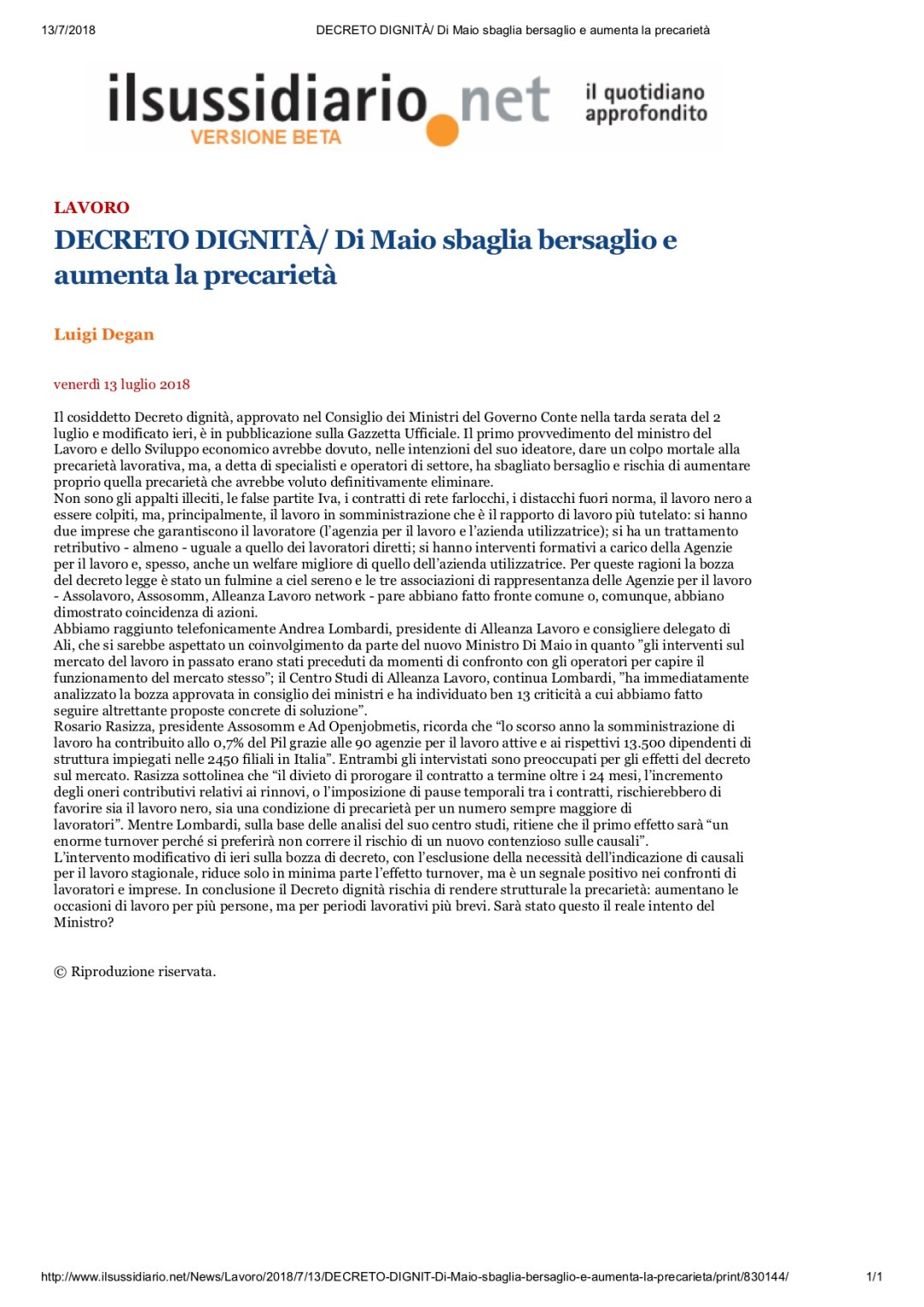 Ilsussidiario.net: Decreto Dignità/ Di Maio sbaglia bersaglio e aumenta la precarietà