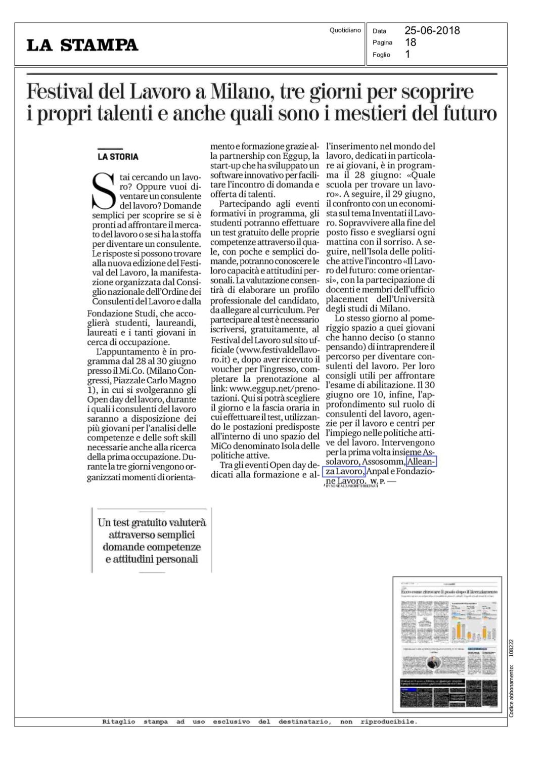 La Stampa: Festival del Lavoro a Milano, tre giorni per scoprire i propri talenti e anche quali sono i mestieri del futuro
