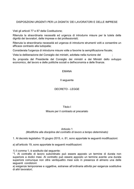 Decreto Dignità: il testo approvato il 2 luglio