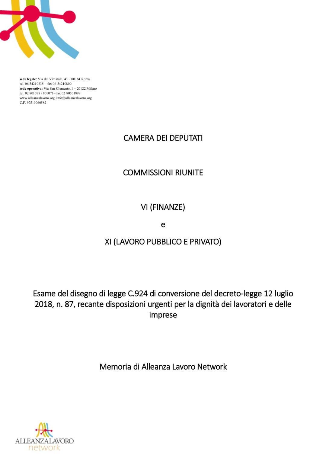 Decreto Dignità: le proposte di Alleanza Lavoro nella Memoria presentata alla Camera