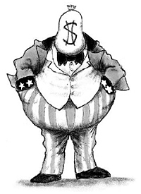 Depiction of a Robber Baron with a sack of money for a head