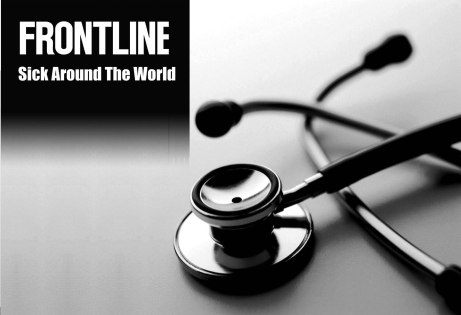 Frontline special about health care in America vs other industrialized nations depicted in this logo: Sick Around the World plus a picture of a stethoscope.