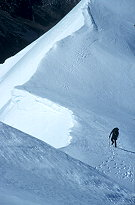 A climber makes his way up the final section of the summit<br /> ridge of Mt Franklin