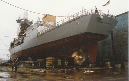 USS Samuel B. Roberts under repair in Bath Iron Works dry dock in Portland, Maine