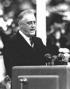 Picture of president Franklin Roosevelt giving a speech