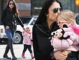 Bethenny Frankel seen walking her daughter Bryn around in New York City