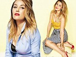 Peek-a-boo! Lauren Conrad flashes her black bra under an unbuttoned shirt as she glams up for magazine photo shoot