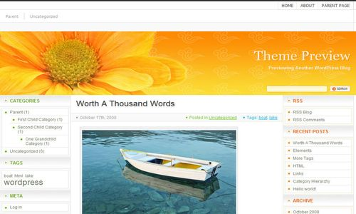 orange flower html5 free wordpress theme 10 Free HTML5 WordPress Themes