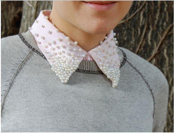 beaded diy shirt collar