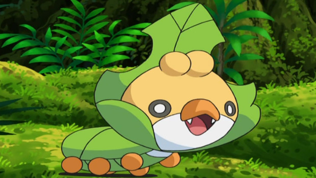 Sewaddle, a pokemon that resembles a leaf-colored caterpillar wearing a leaf as a collar or hat.