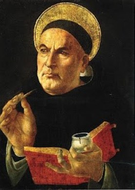 St. Thomas Aquinas thinking as he writes in a book