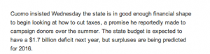 Governor 1% wants to cut taxes
