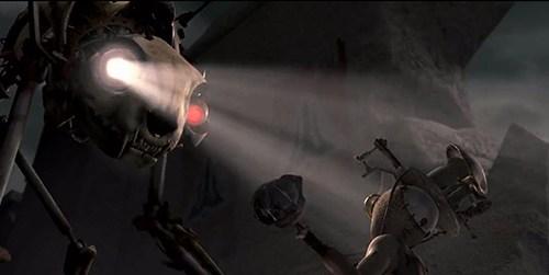 Aqui está um robô mal de um olho só.