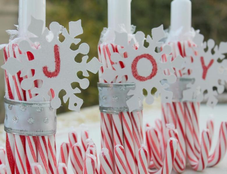 DIY Candy Cane Candle Holder