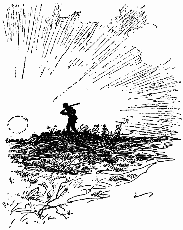 Illustration: Mr. Shimerda walking on the upland prairie with a gun over his shoulder