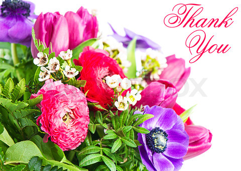thank you. colorful flowers bouquet. card concept