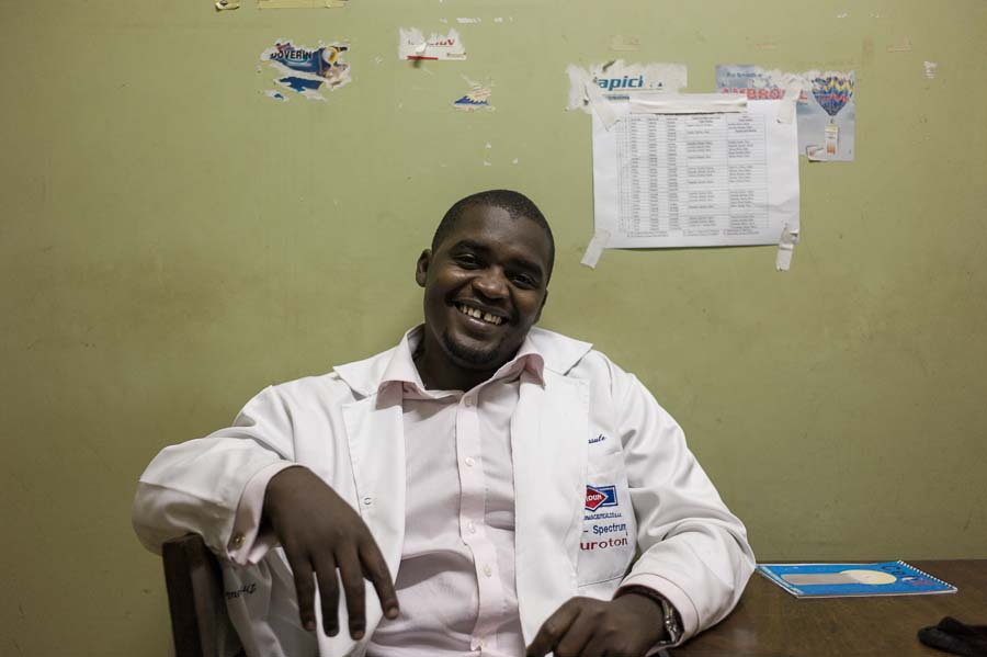 Omar, ENT resident in his office, Mulago Hospital