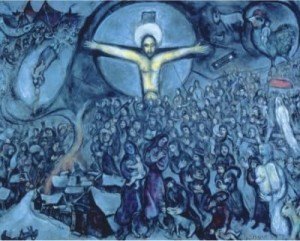 Patronen in de Bergrede van Jezus! Art of Chagall on the Cross has as subject Marc Chagall himself, the holocaust, the jews, Jesus Christ, the bible, judaism, forgiveness, resurrection