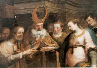 Quadro dos Santos Esponsais de Maria e José na Igreja dos Estigmas, em Verona, Itália