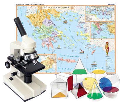 mapy, mikroskopy, bryły