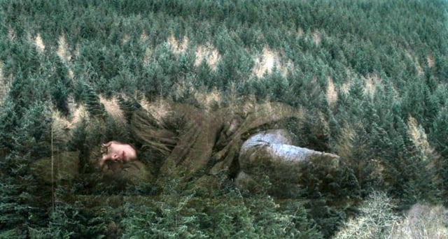 The Woman sleeps with the forest superimposed over her image in under the skin