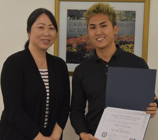 Career Development Center counselor Jina Lee Flores and Noah Suraza