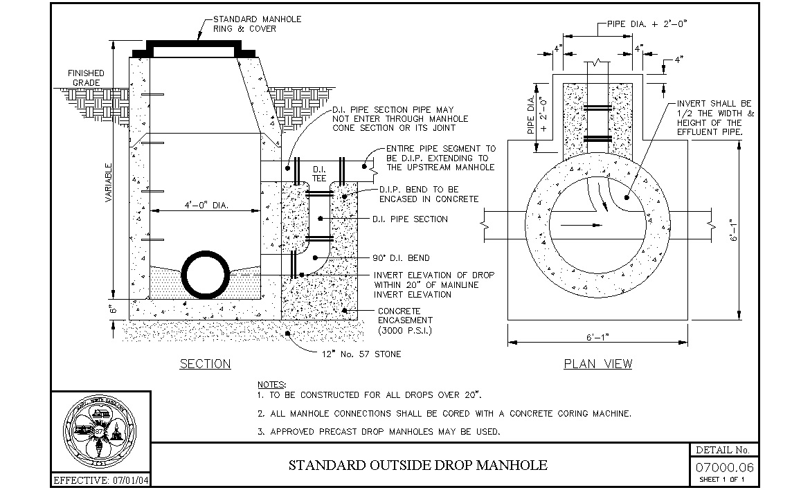 hight resolution of  standard outside drop manhole