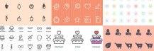 オーガニックフード(有機食品)のフリーアイコンセット (AI, EPS, SVG, PNG)