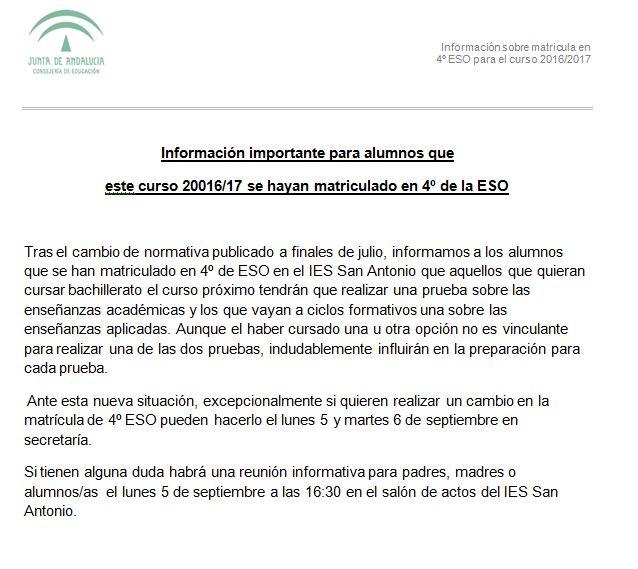 Información importante matricula 4 ESO 1617