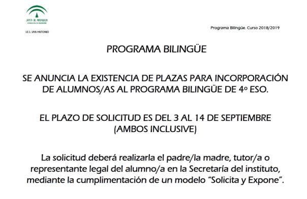 Plazas_Programa_Bilingüe_4º_Curso_2018_2019