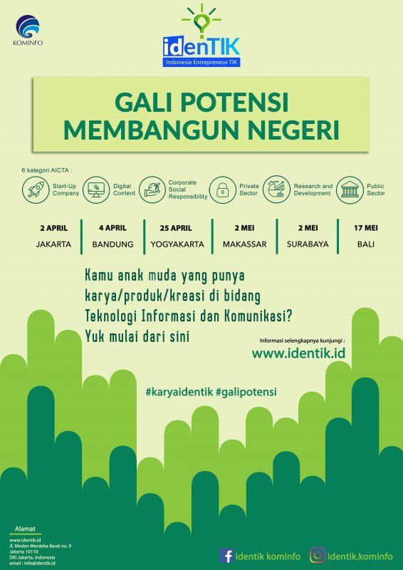 kominfo aptika Poster Identik - Pembukaan Seleknas IdenTIK 2019 untuk Gali Potensi Karya Anak Bangsa